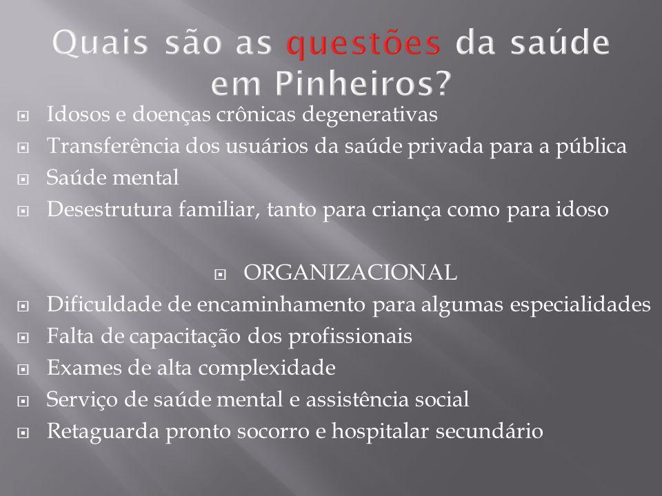 Quais são as questões da saúde em Pinheiros? Idosos e doenças crônicas degenerativas Transferência dos usuários da saúde privada para a pública Saúde