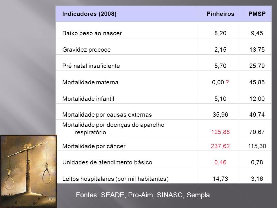Indicadores (2008)PinheirosPMSP Baixo peso ao nascer8,209,45 Gravidez precoce2,1513,75 Pré natal insuficiente5,7025,79 Mortalidade materna0,00 ?45,85