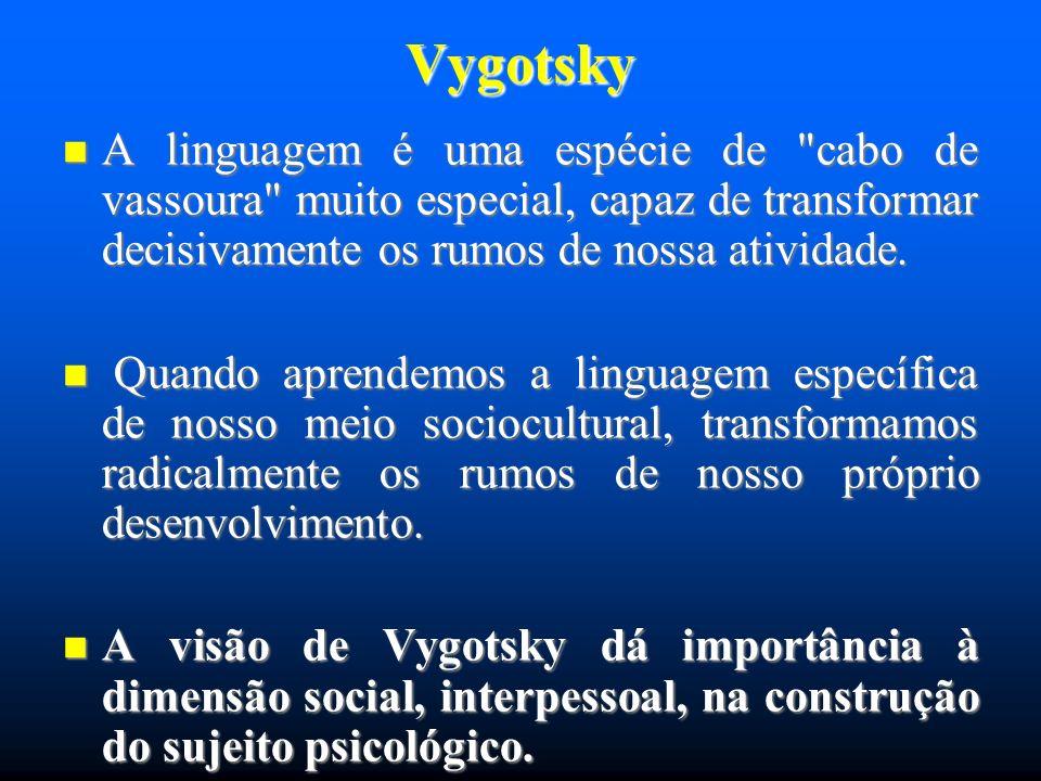 Vygotsky A linguagem infantil sugere que, por um longo período de tempo, a palavra para as crianças é uma propriedade do objeto, mais que um símbolo deste.