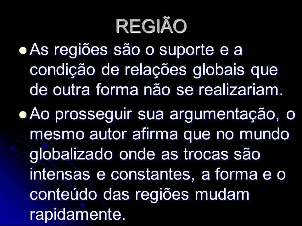 REGIÃO As regiões são o suporte e a condição de relações globais que de outra forma não se realizariam. As regiões são o suporte e a condição de relaç