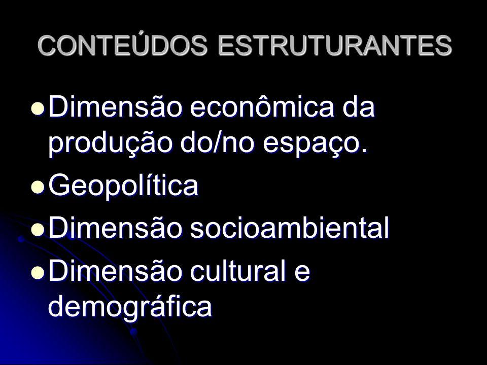 CONTEÚDOS ESTRUTURANTES Dimensão econômica da produção do/no espaço. Dimensão econômica da produção do/no espaço. Geopolítica Geopolítica Dimensão soc