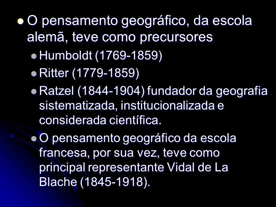 O pensamento geográfico, da escola alemã, teve como precursores O pensamento geográfico, da escola alemã, teve como precursores Humboldt (1769-1859) H