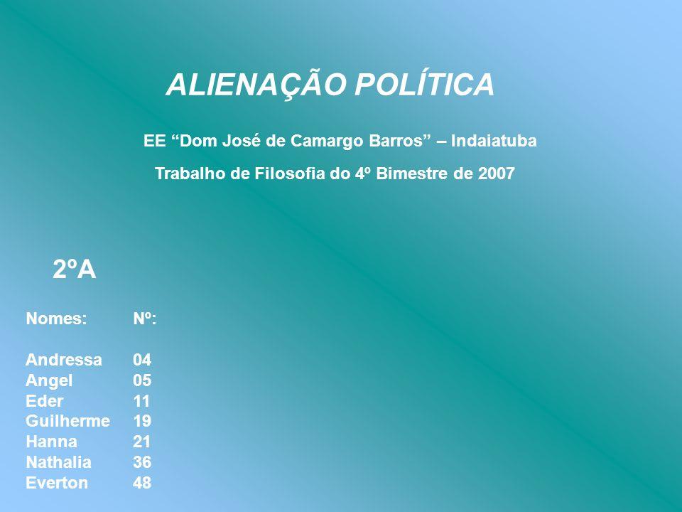 ALIENAÇÃO POLÍTICA EE Dom José de Camargo Barros – Indaiatuba Trabalho de Filosofia do 4º Bimestre de 2007 Nomes: Andressa Angel Eder Guilherme Hanna