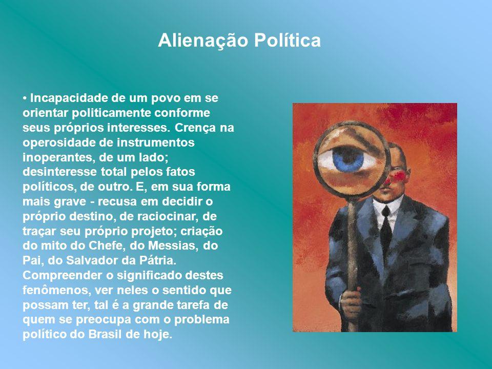 Incapacidade de um povo em se orientar politicamente conforme seus próprios interesses. Crença na operosidade de instrumentos inoperantes, de um lado;