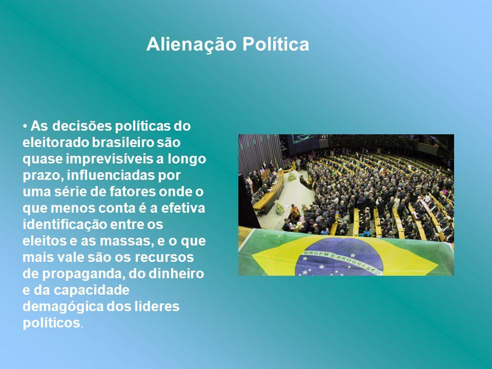 As decisões políticas do eleitorado brasileiro são quase imprevisíveis a longo prazo, influenciadas por uma série de fatores onde o que menos conta é
