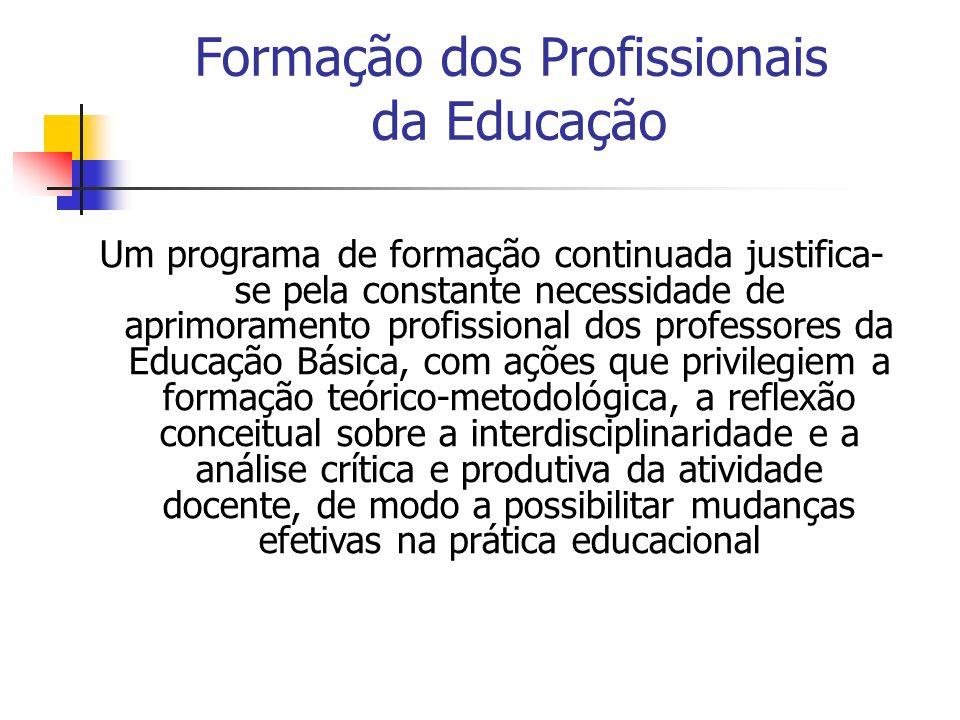 Um programa de formação continuada justifica- se pela constante necessidade de aprimoramento profissional dos professores da Educação Básica, com açõe