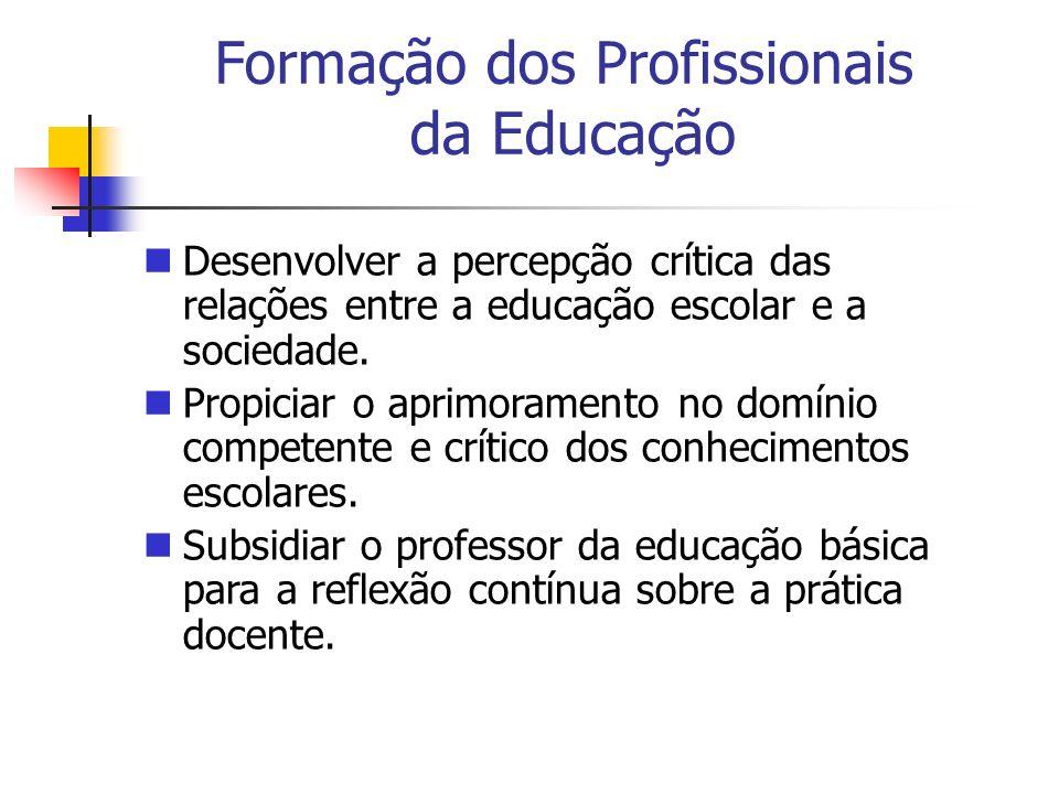 Desenvolver a percepção crítica das relações entre a educação escolar e a sociedade. Propiciar o aprimoramento no domínio competente e crítico dos con