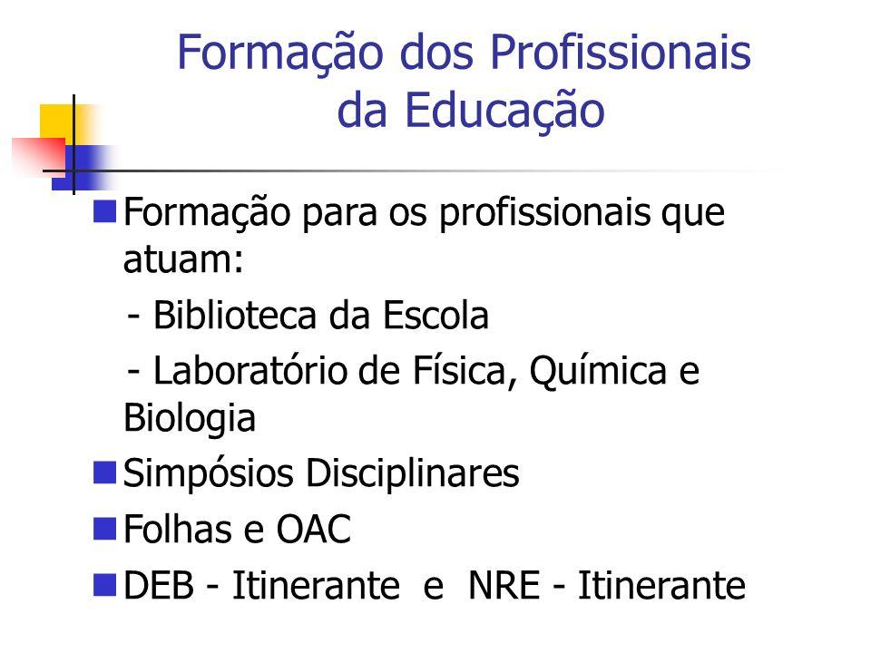 Formação para os profissionais que atuam: - Biblioteca da Escola - Laboratório de Física, Química e Biologia Simpósios Disciplinares Folhas e OAC DEB