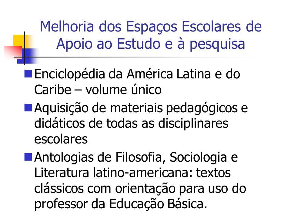 Melhoria dos Espaços Escolares de Apoio ao Estudo e à pesquisa Enciclopédia da América Latina e do Caribe – volume único Aquisição de materiais pedagó