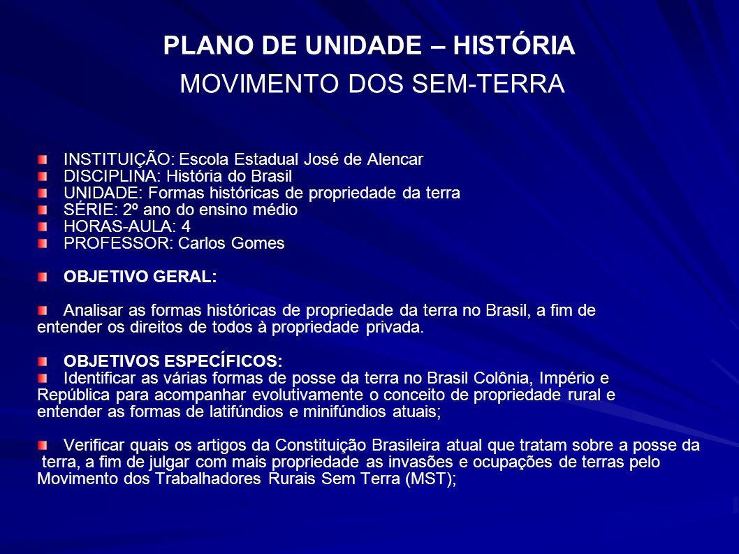 PLANO DE UNIDADE – HISTÓRIA MOVIMENTO DOS SEM-TERRA INSTITUIÇÃO: Escola Estadual José de Alencar DISCIPLINA: História do Brasil UNIDADE: Formas histór