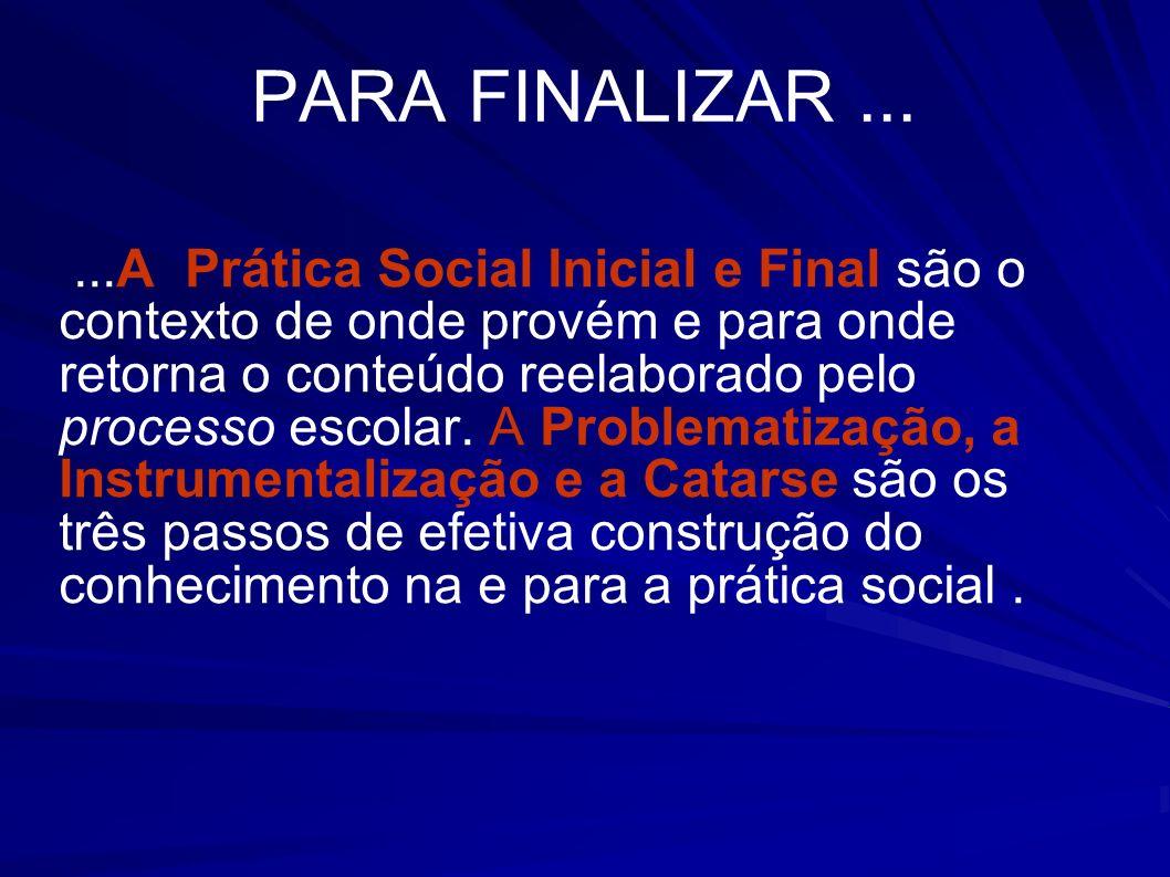 PARA FINALIZAR......A Prática Social Inicial e Final são o contexto de onde provém e para onde retorna o conteúdo reelaborado pelo processo escolar. A