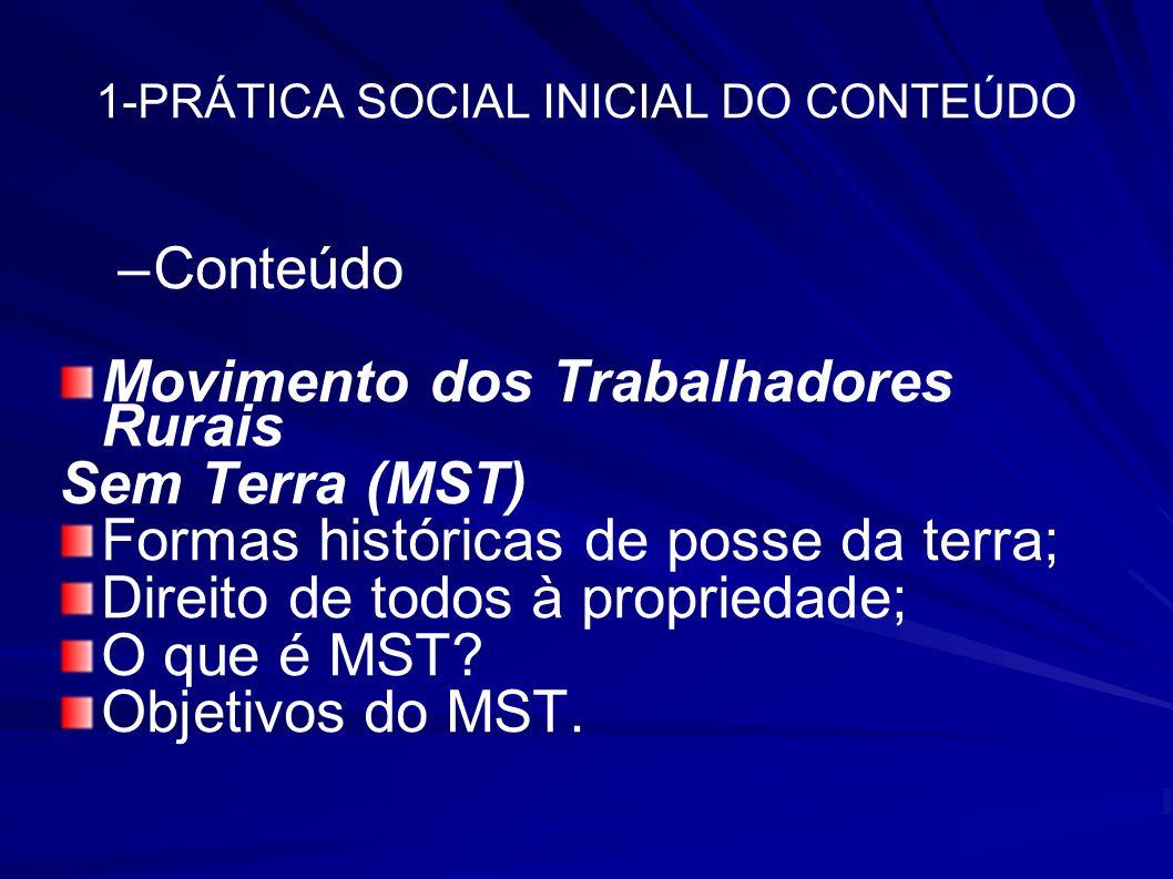 1-PRÁTICA SOCIAL INICIAL DO CONTEÚDO –Conteúdo Movimento dos Trabalhadores Rurais Sem Terra (MST) Formas históricas de posse da terra; Direito de todo