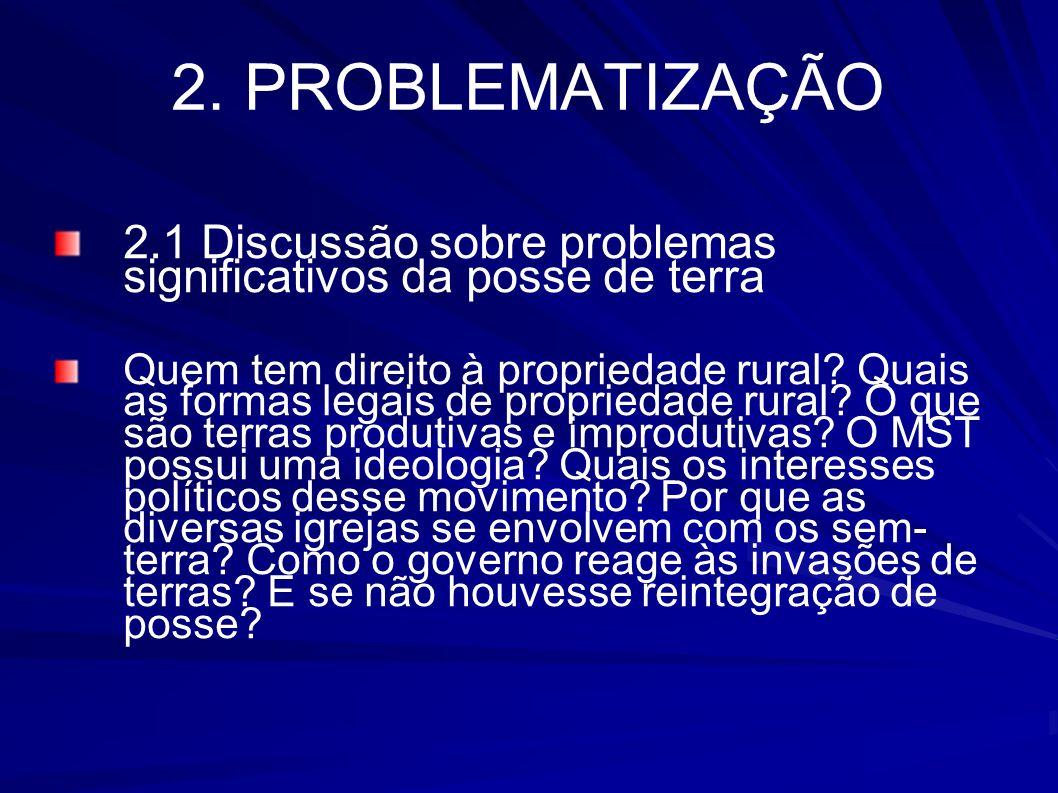 2. PROBLEMATIZAÇÃO 2.1 Discussão sobre problemas significativos da posse de terra Quem tem direito à propriedade rural? Quais as formas legais de prop
