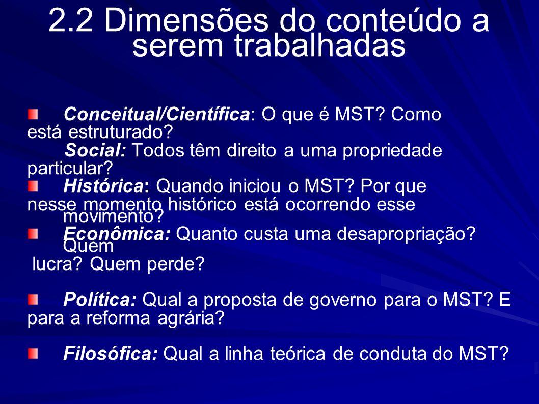 2.2 Dimensões do conteúdo a serem trabalhadas Conceitual/Científica: O que é MST? Como está estruturado? Social: Todos têm direito a uma propriedade p