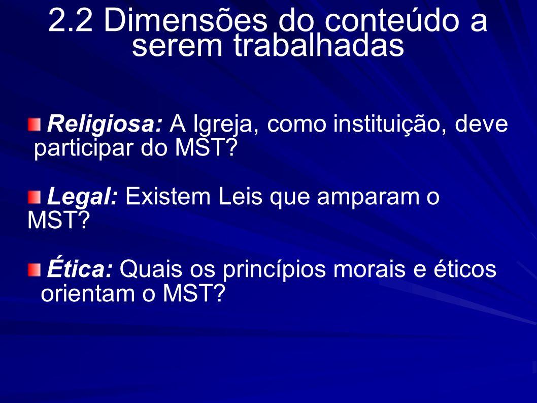 2.2 Dimensões do conteúdo a serem trabalhadas Religiosa: A Igreja, como instituição, deve participar do MST? Legal: Existem Leis que amparam o MST? Ét