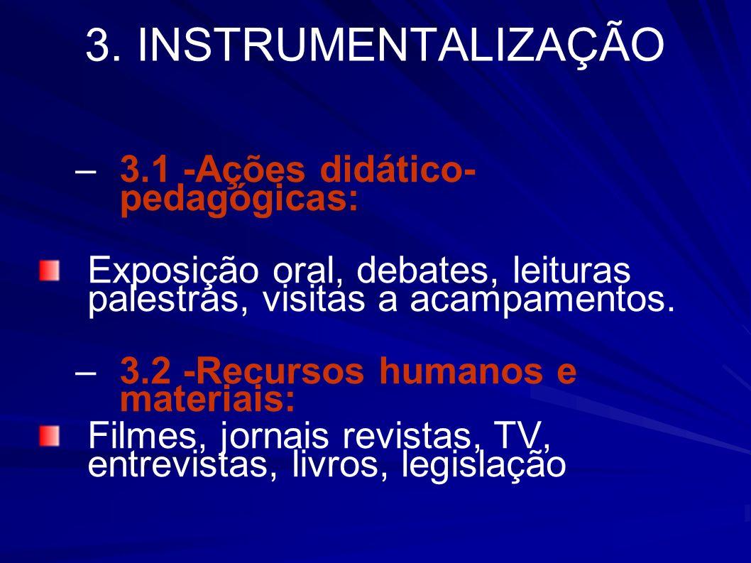 3. INSTRUMENTALIZAÇÃO –3.1 -Ações didático- pedagógicas: Exposição oral, debates, leituras palestras, visitas a acampamentos. –3.2 -Recursos humanos e