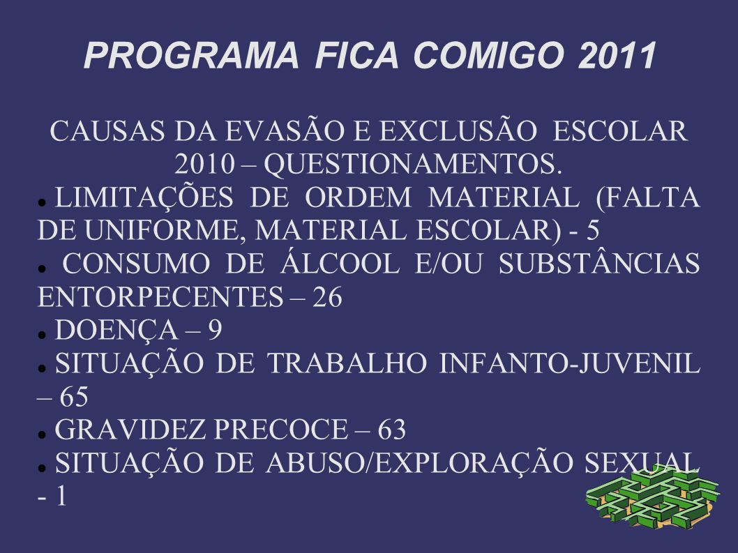PROGRAMA FICA COMIGO 2011 CAUSAS DA EVASÃO E EXCLUSÃO ESCOLAR 2010 – QUESTIONAMENTOS. LIMITAÇÕES DE ORDEM MATERIAL (FALTA DE UNIFORME, MATERIAL ESCOLA