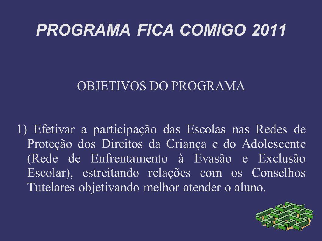 PROGRAMA FICA COMIGO 2011 OBJETIVOS DO PROGRAMA 1) Efetivar a participação das Escolas nas Redes de Proteção dos Direitos da Criança e do Adolescente
