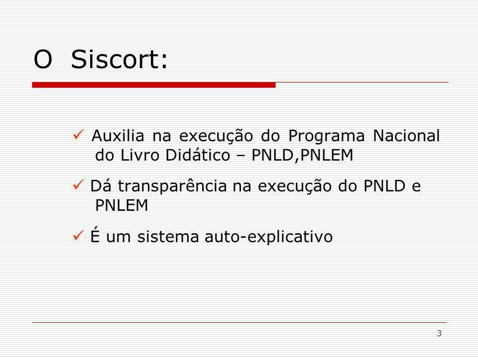 3 O Siscort: Auxilia na execução do Programa Nacional do Livro Didático – PNLD,PNLEM Dá transparência na execução do PNLD e PNLEM É um sistema auto-ex