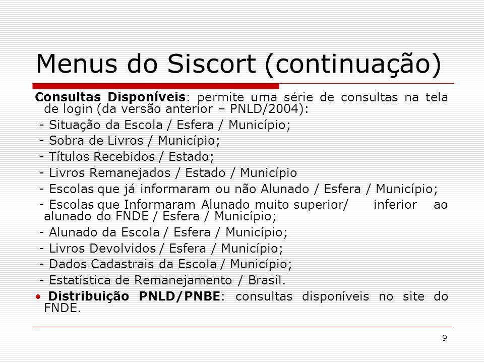 9 Menus do Siscort (continuação) Consultas Disponíveis: permite uma série de consultas na tela de login (da versão anterior – PNLD/2004): - Situação d