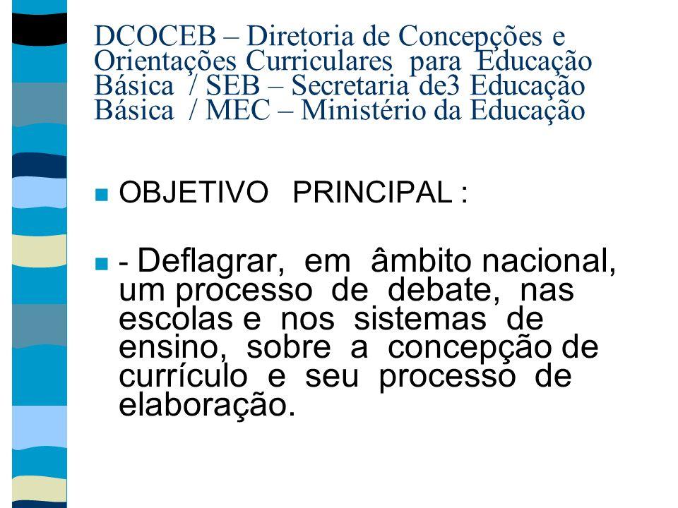 DCOCEB – Diretoria de Concepções e Orientações Curriculares para Educação Básica / SEB – Secretaria de3 Educação Básica / MEC – Ministério da Educação