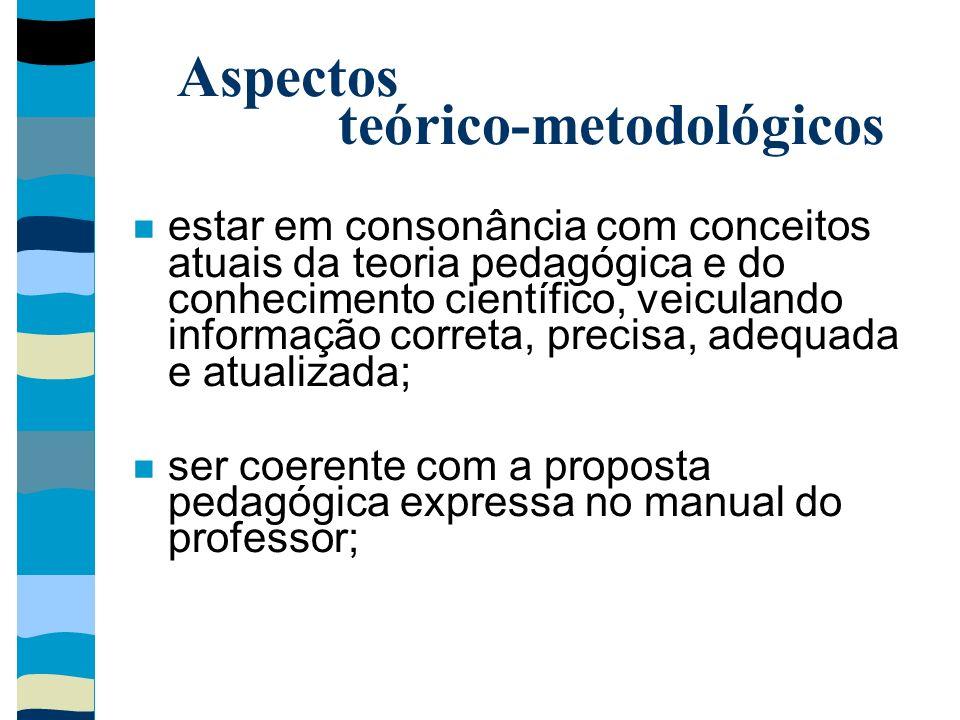 Aspectos teórico-metodológicos estar em consonância com conceitos atuais da teoria pedagógica e do conhecimento científico, veiculando informação corr