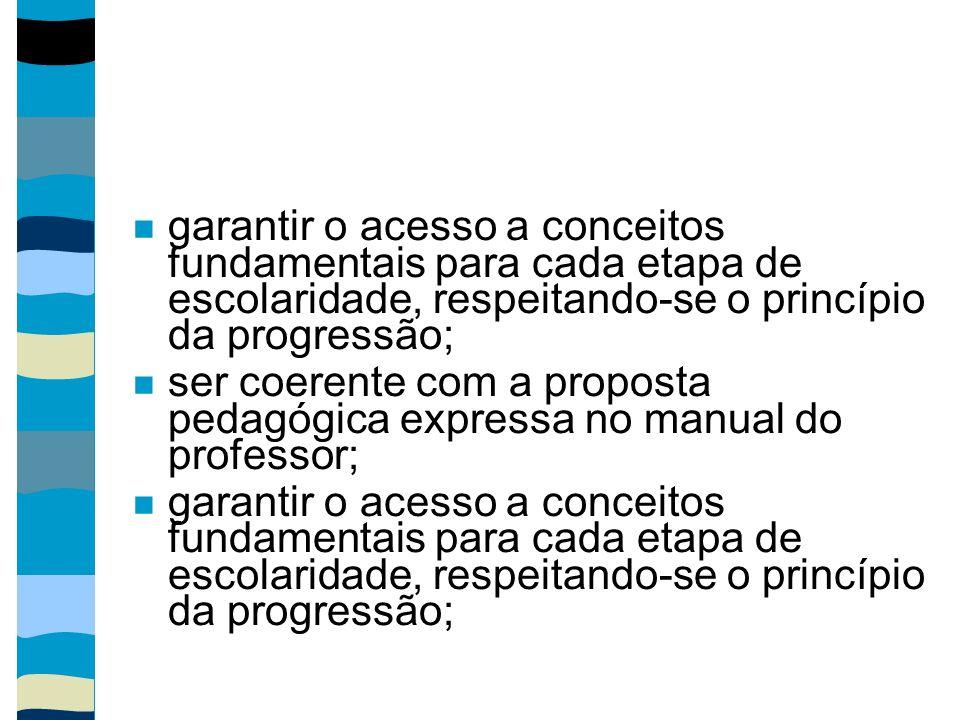 garantir o acesso a conceitos fundamentais para cada etapa de escolaridade, respeitando-se o princípio da progressão; ser coerente com a proposta peda