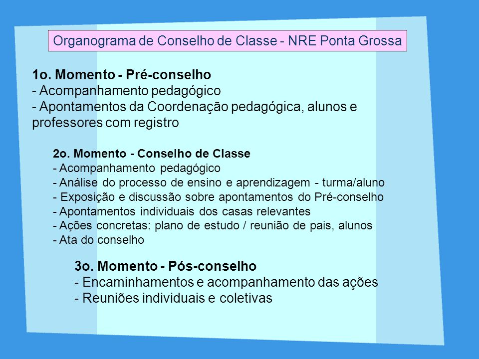 Organograma de Conselho de Classe - NRE Ponta Grossa 1o. Momento - Pré-conselho - Acompanhamento pedagógico - Apontamentos da Coordenação pedagógica,
