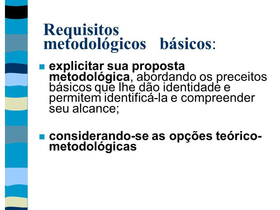 Requisitos metodológicos básicos: explicitar sua proposta metodológica, abordando os preceitos básicos que lhe dão identidade e permitem identificá-la