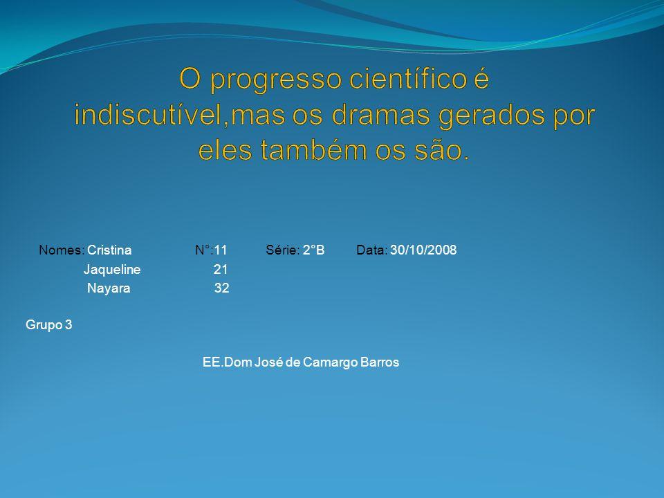 Nomes: Cristina N°:11 Série: 2°B Data: 30/10/2008 Jaqueline 21 Nayara 32 Grupo 3 EE.Dom José de Camargo Barros