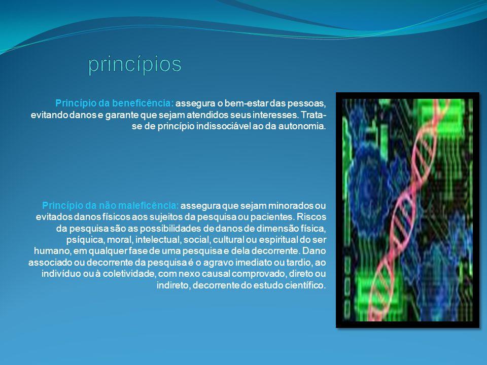 Princípio da justiça: exige eqüidade na distribuição de bens e benefícios em qualquer setor da ciência, como por exemplo: medicina, ciências da saúde, ciências da vida, do meio ambiente.