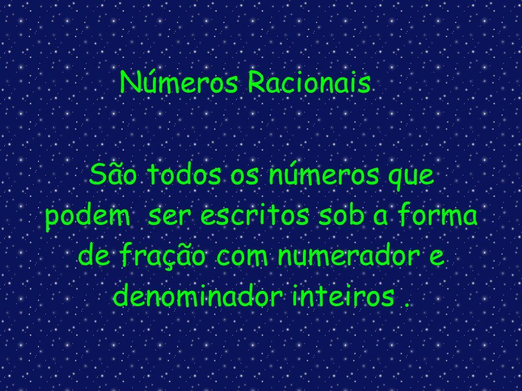 Números Racionais São todos os números que podem ser escritos sob a forma de fração com numerador e denominador inteiros.