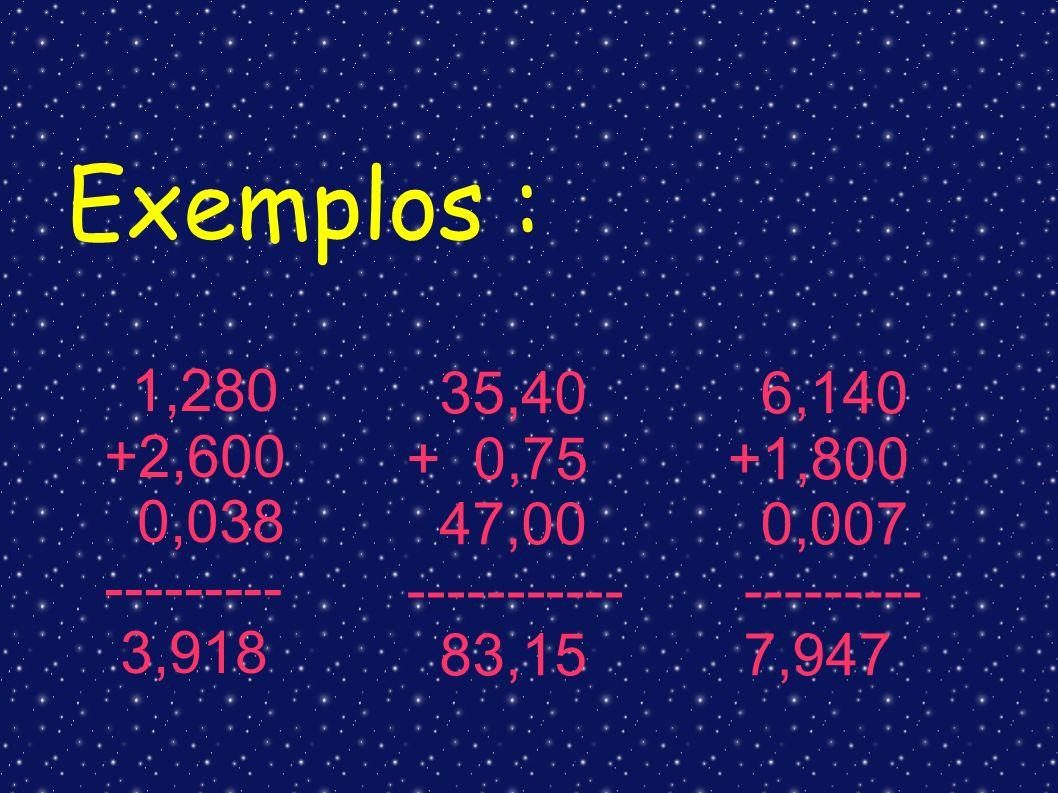 1,280 +2,600 0,038 --------- 3,918 35,40 + 0,75 47,00 ----------- 83,15 6,140 +1,800 0,007 --------- 7,947 Exemplos :
