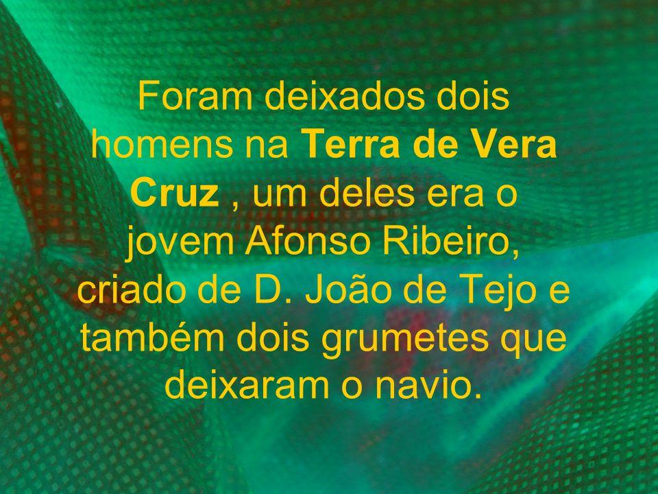 Foram deixados dois homens na Terra de Vera Cruz, um deles era o jovem Afonso Ribeiro, criado de D. João de Tejo e também dois grumetes que deixaram o
