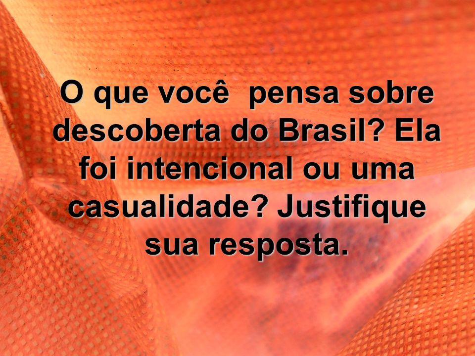 O que você pensa sobre descoberta do Brasil? Ela foi intencional ou uma casualidade? Justifique sua resposta.