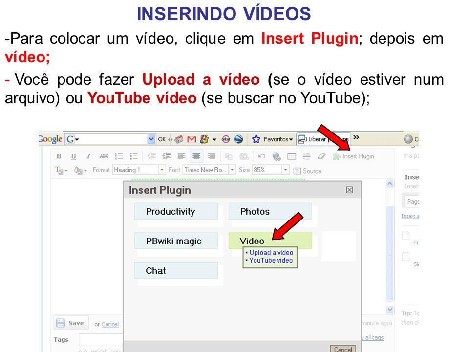 INSERINDO VÍDEOS -Para colocar um vídeo, clique em Insert Plugin; depois em vídeo; - Você pode fazer Upload a vídeo (se o vídeo estiver num arquivo) ou YouTube vídeo (se buscar no YouTube);