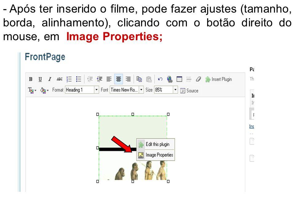 - Após ter inserido o filme, pode fazer ajustes (tamanho, borda, alinhamento), clicando com o botão direito do mouse, em Image Properties;