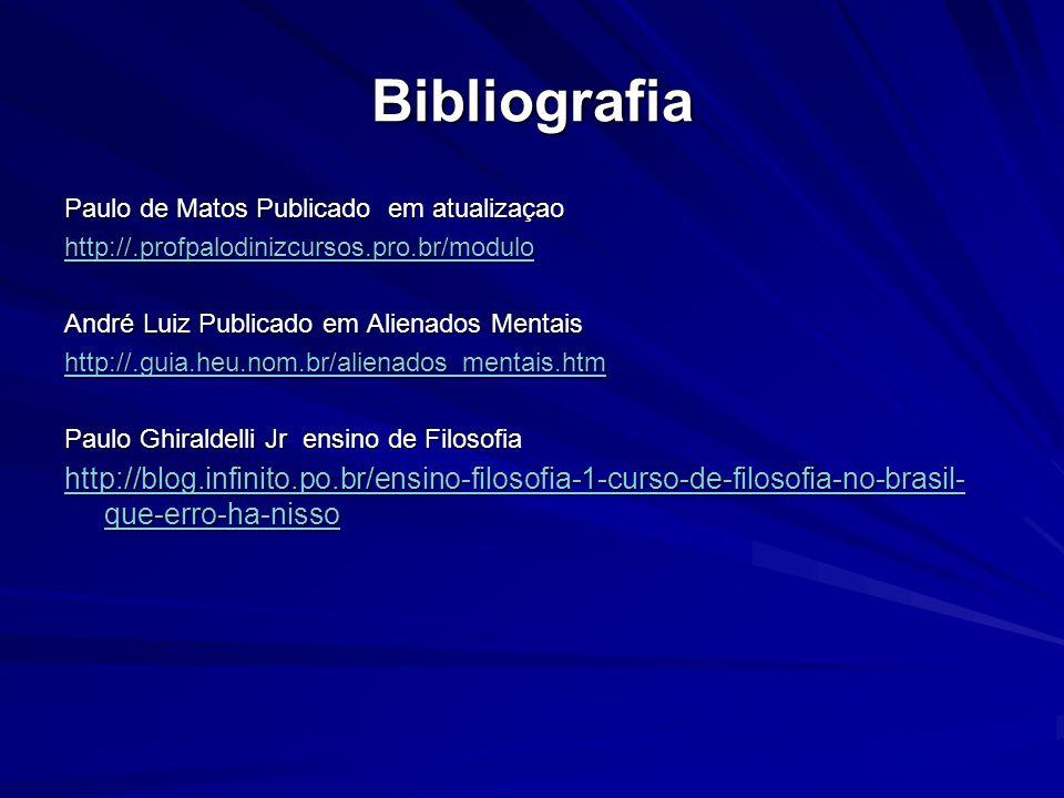 Bibliografia Paulo de Matos Publicado em atualizaçao http://.profpalodinizcursos.pro.br/modulo André Luiz Publicado em Alienados Mentais http://.guia.heu.nom.br/alienados_mentais.htm Paulo Ghiraldelli Jr ensino de Filosofia http://blog.infinito.po.br/ensino-filosofia-1-curso-de-filosofia-no-brasil- que-erro-ha-nisso http://blog.infinito.po.br/ensino-filosofia-1-curso-de-filosofia-no-brasil- que-erro-ha-nisso