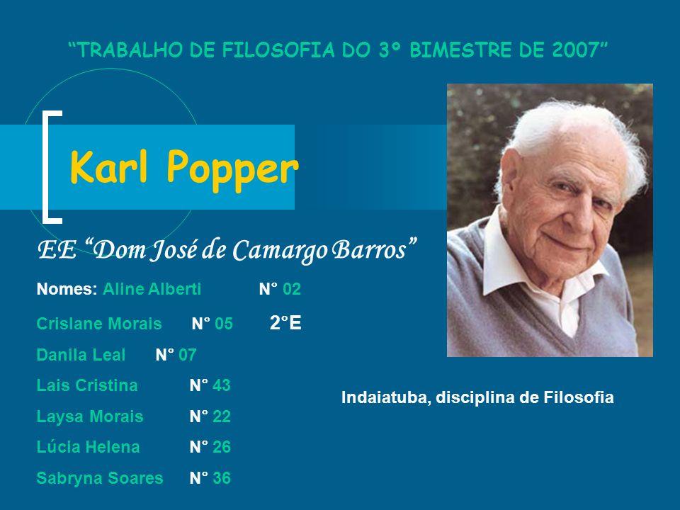 Karl Popper EE Dom José de Camargo Barros Nomes: Aline Alberti N° 02 Crislane Morais N° 05 2°E Danila Leal N° 07 Lais Cristina N° 43 Laysa Morais N° 2