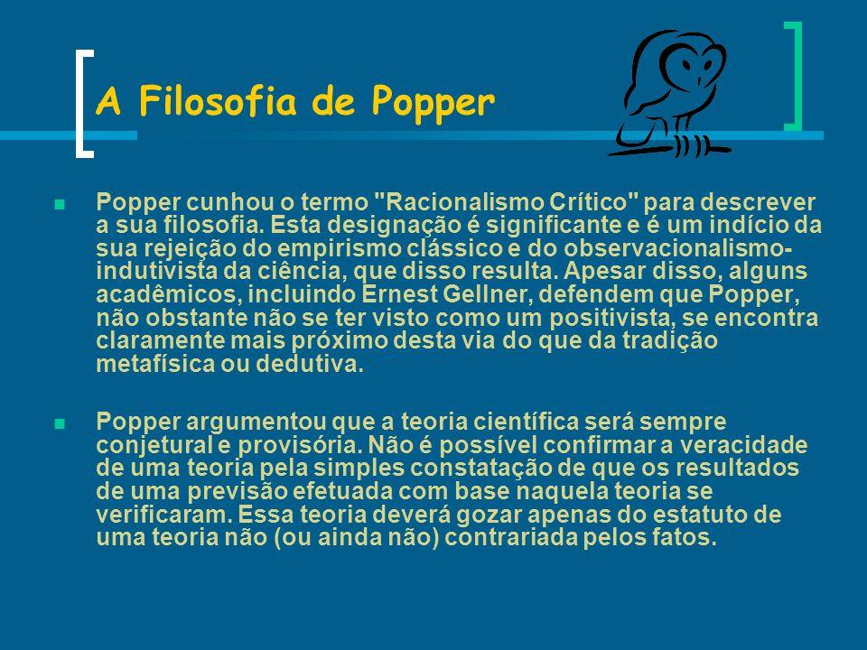 A Filosofia de Popper Popper cunhou o termo