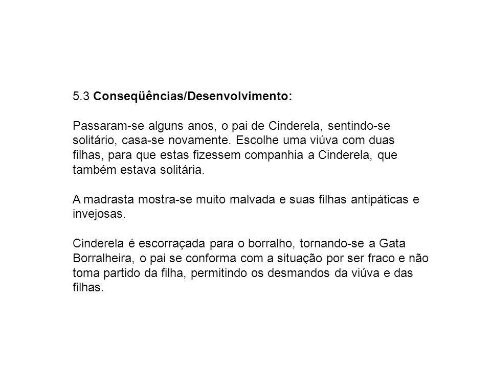 5.3 Conseqüências/Desenvolvimento: Passaram-se alguns anos, o pai de Cinderela, sentindo-se solitário, casa-se novamente.