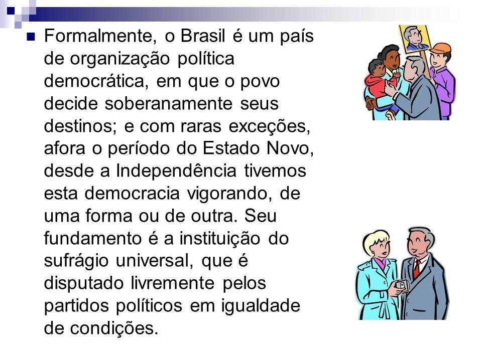 Formalmente, o Brasil é um país de organização política democrática, em que o povo decide soberanamente seus destinos; e com raras exceções, afora o p