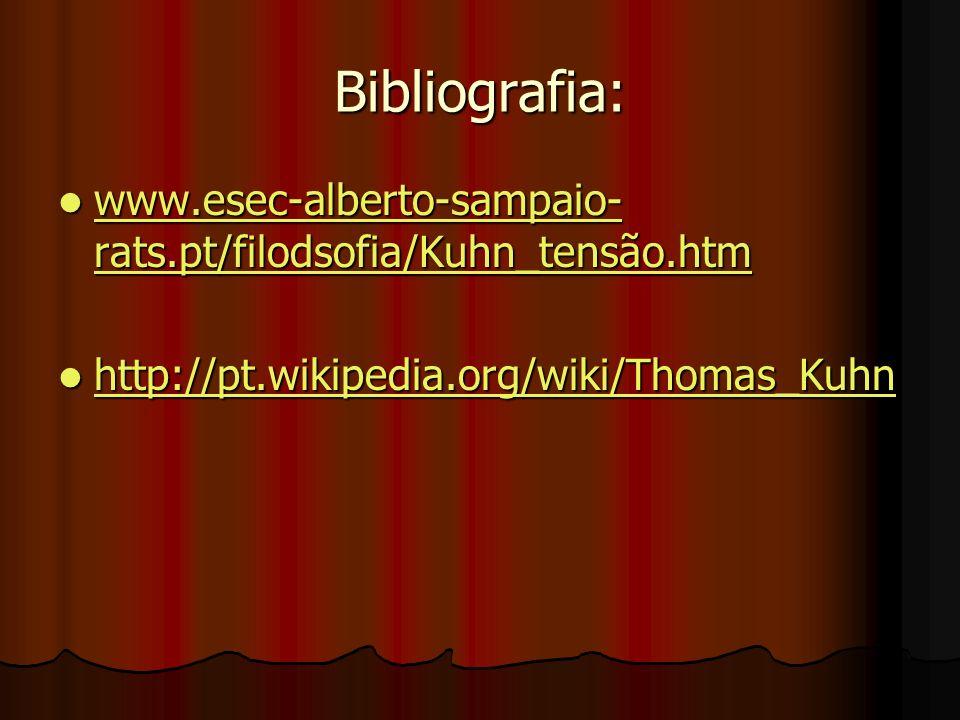 Bibliografia: www.esec-alberto-sampaio- rats.pt/filodsofia/Kuhn_tensão.htm www.esec-alberto-sampaio- rats.pt/filodsofia/Kuhn_tensão.htm www.esec-alber