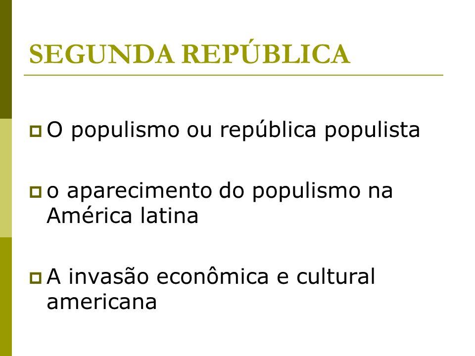 O populismo ou república populista o aparecimento do populismo na América latina A invasão econômica e cultural americana SEGUNDA REPÚBLICA