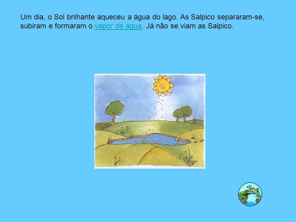 Um dia, o Sol brilhante aqueceu a água do lago. As Salpico separaram-se, subiram e formaram o vapor de água. Já não se viam as Salpico.vapor de água