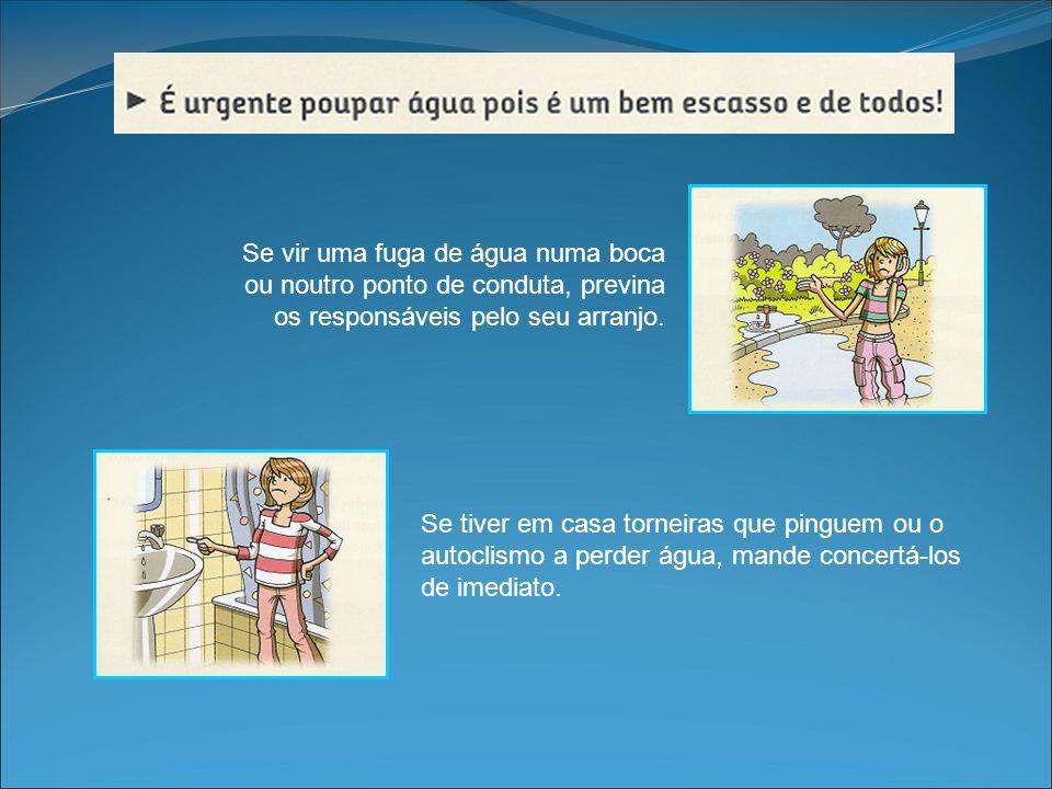 Se tiver em casa torneiras que pinguem ou o autoclismo a perder água, mande concertá-los de imediato. Se vir uma fuga de água numa boca ou noutro pont