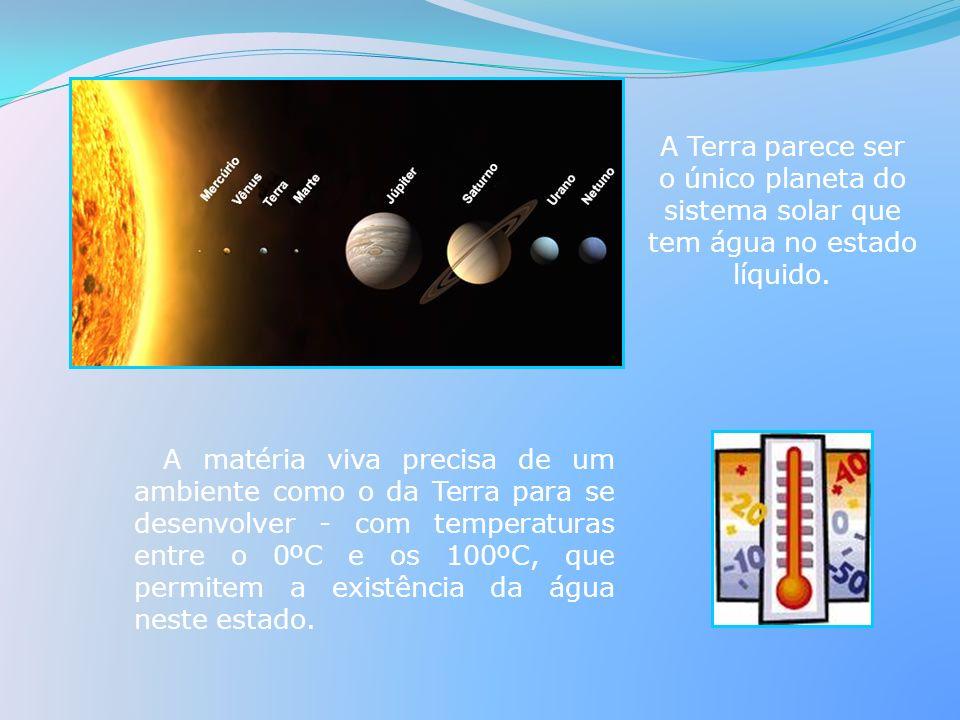 A matéria viva precisa de um ambiente como o da Terra para se desenvolver - com temperaturas entre o 0ºC e os 100ºC, que permitem a existência da água