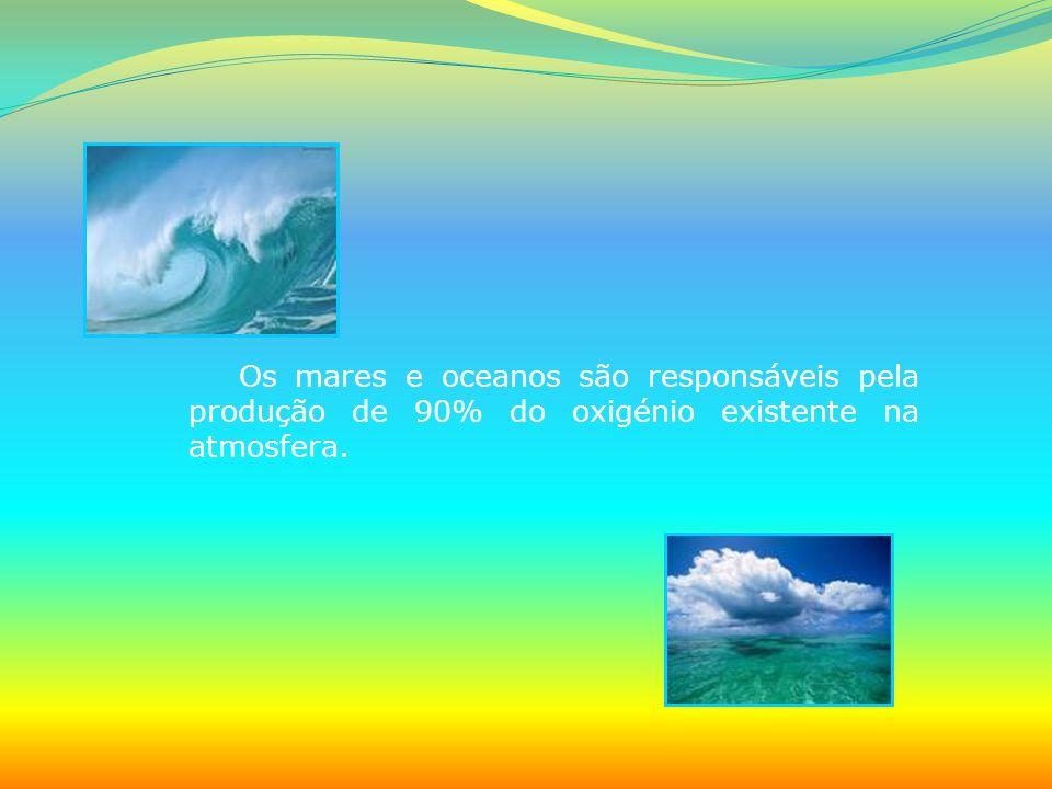 Os mares e oceanos são responsáveis pela produção de 90% do oxigénio existente na atmosfera.