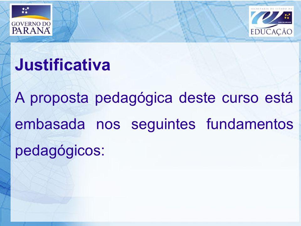 Justificativa A proposta pedagógica deste curso está embasada nos seguintes fundamentos pedagógicos: