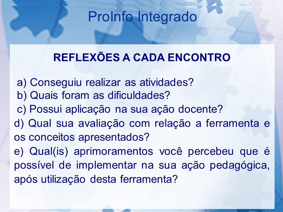 ProInfo Integrado REFLEXÕES A CADA ENCONTRO a) Conseguiu realizar as atividades.
